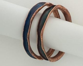 Enameled copper bracelet in green or blue