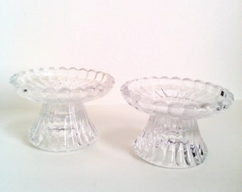 Glass candle holders Party Lite candle holders glass candlestick holders clear candlestick holders Shabby chic décor home decor cottage chic
