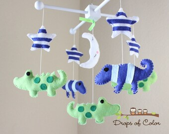 Baby Crib Mobile - Baby Mobile - Alligators and Lizards Mobile in a Starry Night (You can pick your colors)