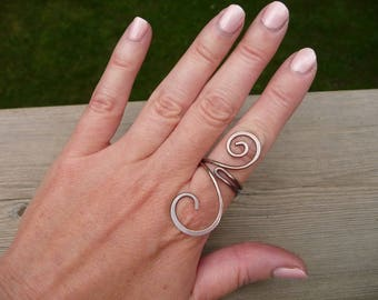 rustic copper ring, earthy jewelry, boho ring, wire wrapped jewelry handmade, Size 7.5 adjustable, copper jewelry, gift for women, metal