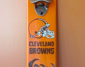 Cleveland Browns Wooden Bottle opener with magnetic cap catcher bottle cap catching opener