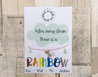 A Wish on Your Wrist Bracelet ~ Wish Bracelet ~ Rainbow Charm Bracelet ~ Friendship Bracelet ~ After Every Storm There is a Rainbow