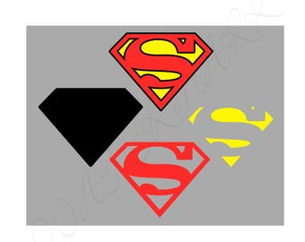 Super SVG & Studio 3 Cut File Stencil Decal Logo for Silhouette Cricut Decals Logos Downloads Digital Design Hero Superman Man SVGs Cutouts