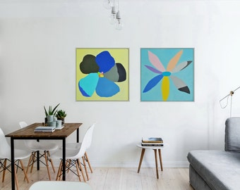 TWO Made to order original abstract oil on canvas paintings, framed art, free shipping