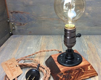 Industrial Lamp-Rustic Table Lamp-Steampunk Reading Desk Light-Pipe lamp-Vintage lamps