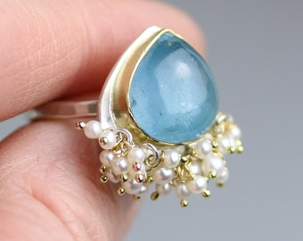 Aquamarine Ring with 18k Gold and Pearls. US size 7.