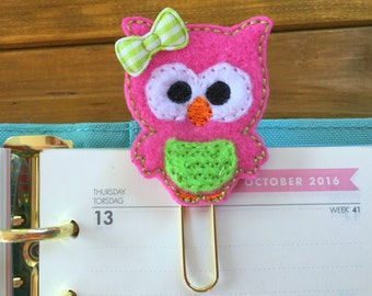 Pink Owl Planner Clip!  Cute Paper Clip for Planner or Bookmark!  Gold Paperclip Stationery Accessory Fall Planner