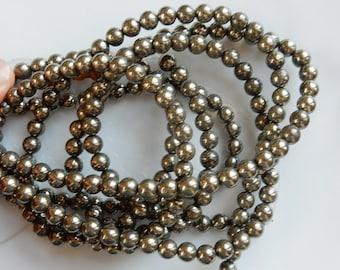 6mm  Pyrite round beads FULL STRAND