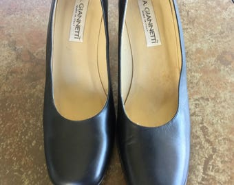 Vintage Black Shoes,Dress Shoes,Women's size 9 1/2 M, Leather Shoes, Made in Italy,