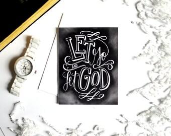 Encouragement Card, Sympathy Card, Let Go And Let God, Chalk Art, Chalkboard Art