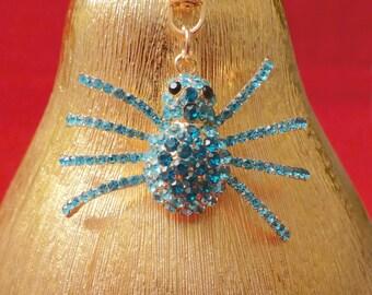 Beautiful Blue Diamante Spider Crystal Purse Ladies Handbag Key Ring Chain Lucky Gift