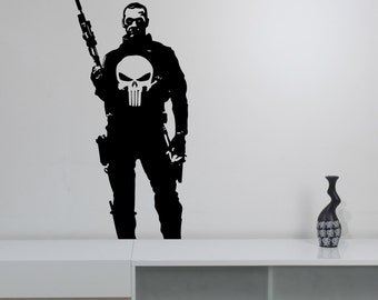 Punisher Wall Decal Vinyl Sticker Marvel Comics Antihero Art Decorations for Home Kids Boys Room Bedroom Movie Decor pur1