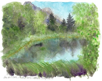 Original Watercolour bear Lake