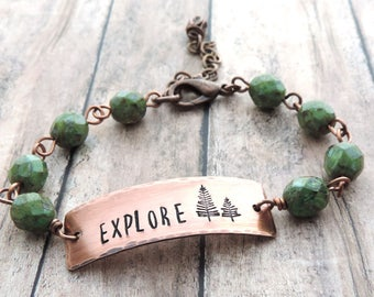 Beaded Explore Bracelet - Green Beaded Bracelet - Stamped Copper Jewelry - Pine Trees - Nature Inspired Bracelet - Hiker Jewelry