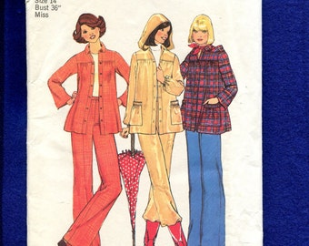 1970's Simplicity 7349 Smock Style Over Shirt with Collar or Hood Size 14 UNCUT