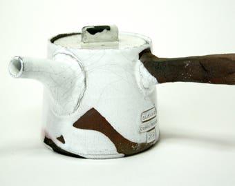 White ceramic teapot Wabi sabi stoneware Raku pottery Clay teapot