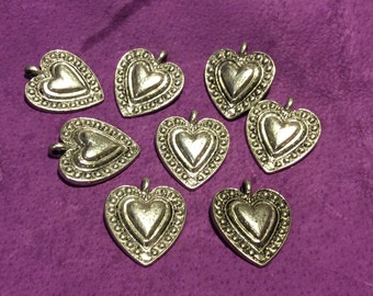 Dotted Heart Pewter Charm