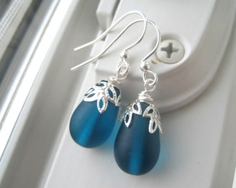 Teal Earrings - Teal Jewelry - Teardrop Earrings - Recycled Glass Jewelry - Teal and Silver - Leaf Earrings - Frosted Glass
