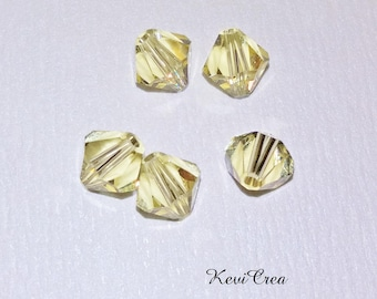 5 x 6 mm yellow Swarovski Crystal bicones