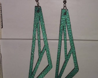 Faux Leather Earrings. Leather Earrings. Vegan Leather Earrings. Lightweight Earrings. Handmade Earrings.