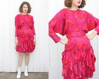 Vintage 80s Dress | 80s Magenta Pink Floral Print Silk Minidress with Ruffles and Belt | Medium M