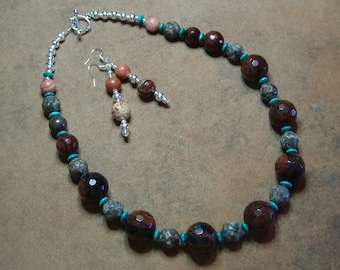 Faceted Natural Jasper, Fossil Crinoid Gemstone and Turquoise .925 Silver Necklace and Earrings