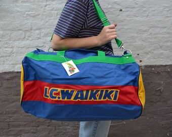 Genuine vintage sports bag LC WAIKIKI / large bag / French monkey icon of the 90's
