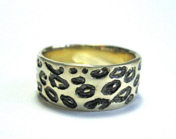 Solid 14k Gold & Black/Grey Rhodium Wide Leopard Print Ring