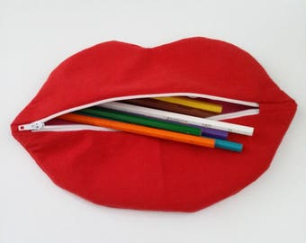 mouth shaped pencil case made of cotton