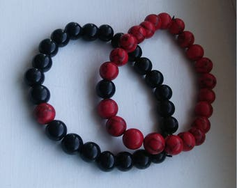 Red and Black vein Bracelet