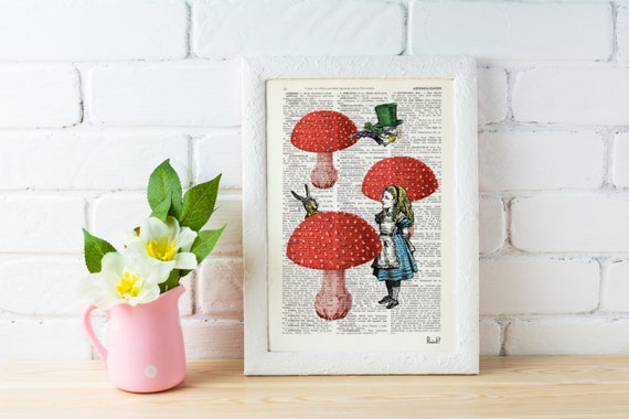 Alice in wonderland-  Alice finding friends- Alice in Wonderland Collage Print on Vintage Dictionary Book art ALW022