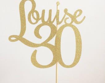 Personalised Birthday Cake Topper, 30th Birthday Topper, Age Birthday Cake Topper, Number Cake Topper, Cake Decorations,