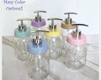 Mason Jar Soap Dispenser-Color soap dispenser-Mason Jar Bathroom-Modern Decor-Bathroom Decor-Kitchen Decor-Chrome Soap Dispenser