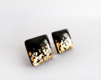 Black Gold Square Stud Earrings - Hypoallergenic Surgical Steel Post