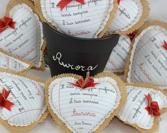 10 Personalized Favors-Heart 14 x 14 cm for communion and confirmation