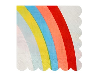 Rainbow Napkin by Meri Meri, Toot Sweet Small Napkins, Unicorn Party Supplies, Rainbow Party Decor, Pastel Rainbow, Cake Napkins