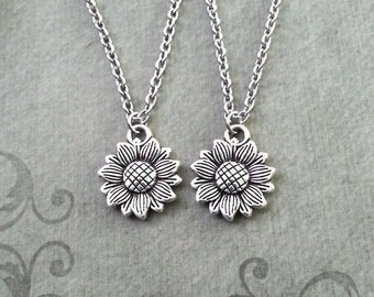Sunflower Necklace Set of 2 SMALL Sunflower Charm Necklace Sunflower Pendant Flower Necklace Best Friend Necklaces Friendship Necklace