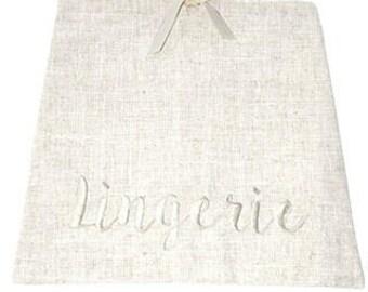 LINEN LINGERIE BAG, Bridesmaid Gifts, Bride Gift, Lingerie Party Gift, Personalized Gift, Personalized Lingerie Bag, Monogram Lingerie Bag