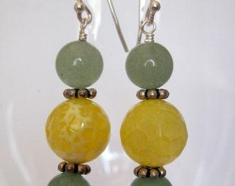 Lemon-lime Gemstone Earrings