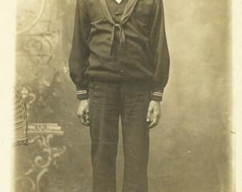vintage photo Sailor Boy Uniform Popeye Studio RPPC