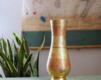 ornate vintage India brass vase . large etched brass flower vase . boho hippie decor with enamel floral design