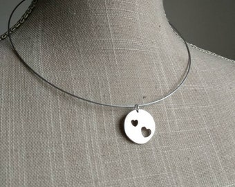 Neckband Choker with silver heart