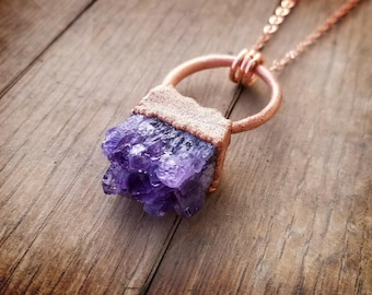 Copper Electroformed amethyst crystal cluster pendant necklace