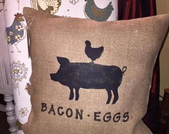 Throw Pillows/Farmhouse Pillow/Farmhouse Decor/Pig Decor/Country Decor/Country Pillow/Chicken Decor/Bacon & Eggs