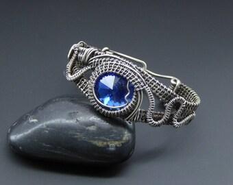 Crystal Bracelet, Wire Jewellery, Handmade Jewellery, Wire Wrapped Jewellery, Woven Silver Cuff, Silver Bracelet, Wire Wrapped