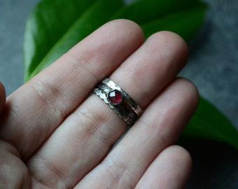 Garnet Stacker Ring Set in Sterling Size 6 & Size 7