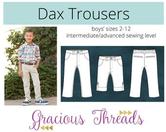 Dax Trousers pdf sewing pattern 2t-12