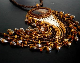 Brown Necklace, Agate Necklace, Baltic amber Necklace, Unique Necklace, Beadwork Necklace, OOAK Bead Embroidered