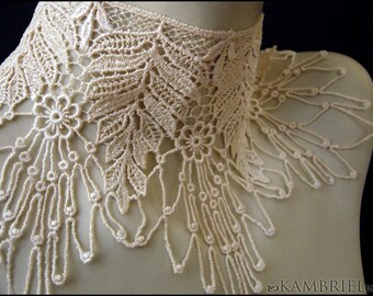 Ivory Victoriana Choker by Kambriel - made from vintage English Lace with a Floral Spiderweb design