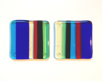 REDUCED PRICE! Set of 2 glass drinks coasters 'Style 3'